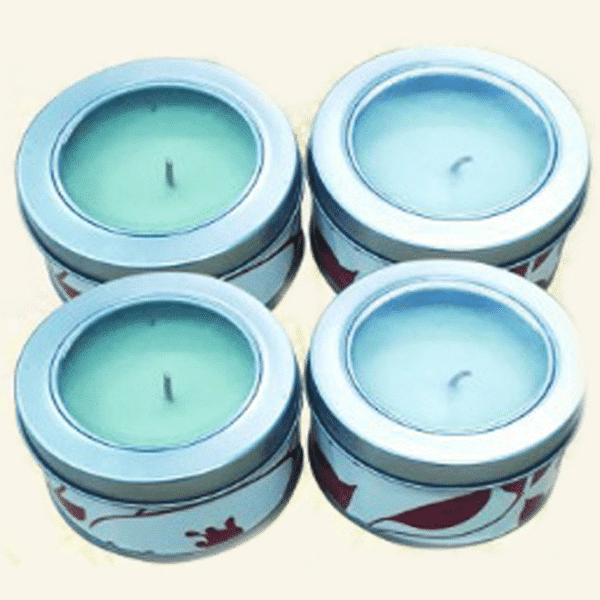 AR-316 Scented Candle in tin Container with Glass Lid , 7 Asstd